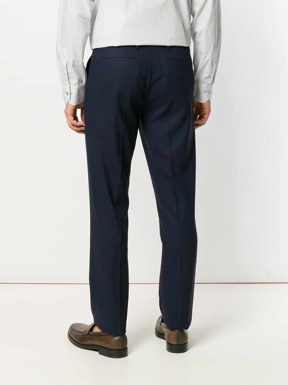 Paul Smith Wool Slim Fit Loro Piana Trousers in Blue for Men