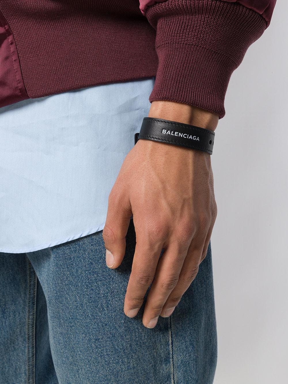 9bb9625ba6bbf Lyst - Balenciaga Logo Embroidered Bracelet in Black for Men