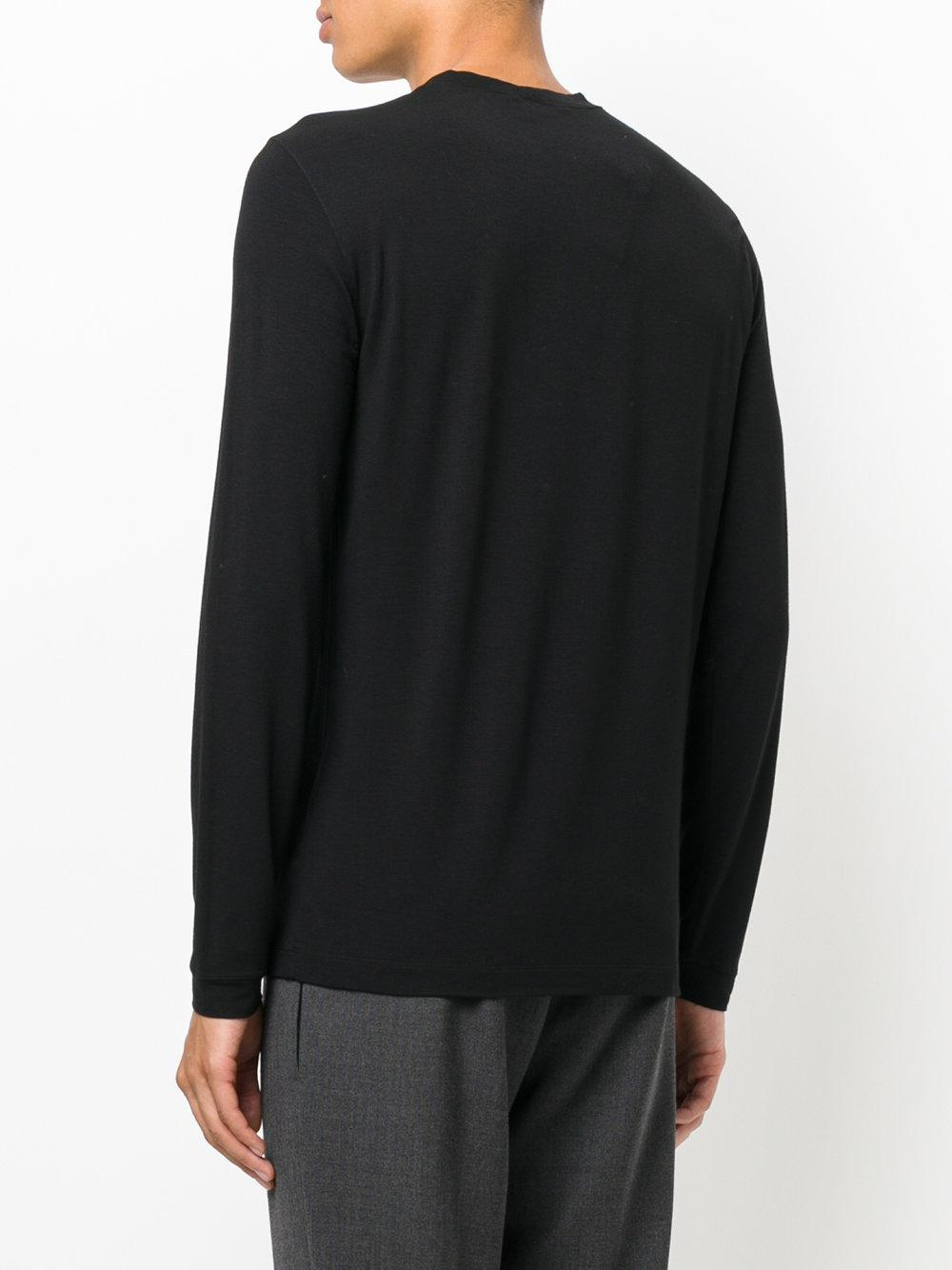 Lyst Giorgio Armani Long Sleeve T Shirt In Black For Men