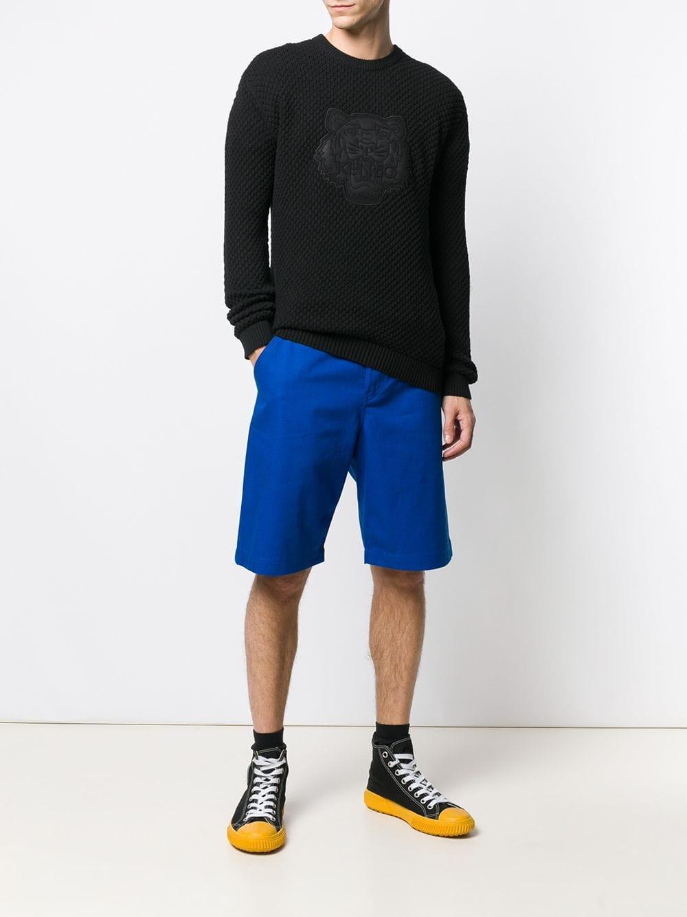 KENZO Katoen Effen Shorts in het Blauw voor heren