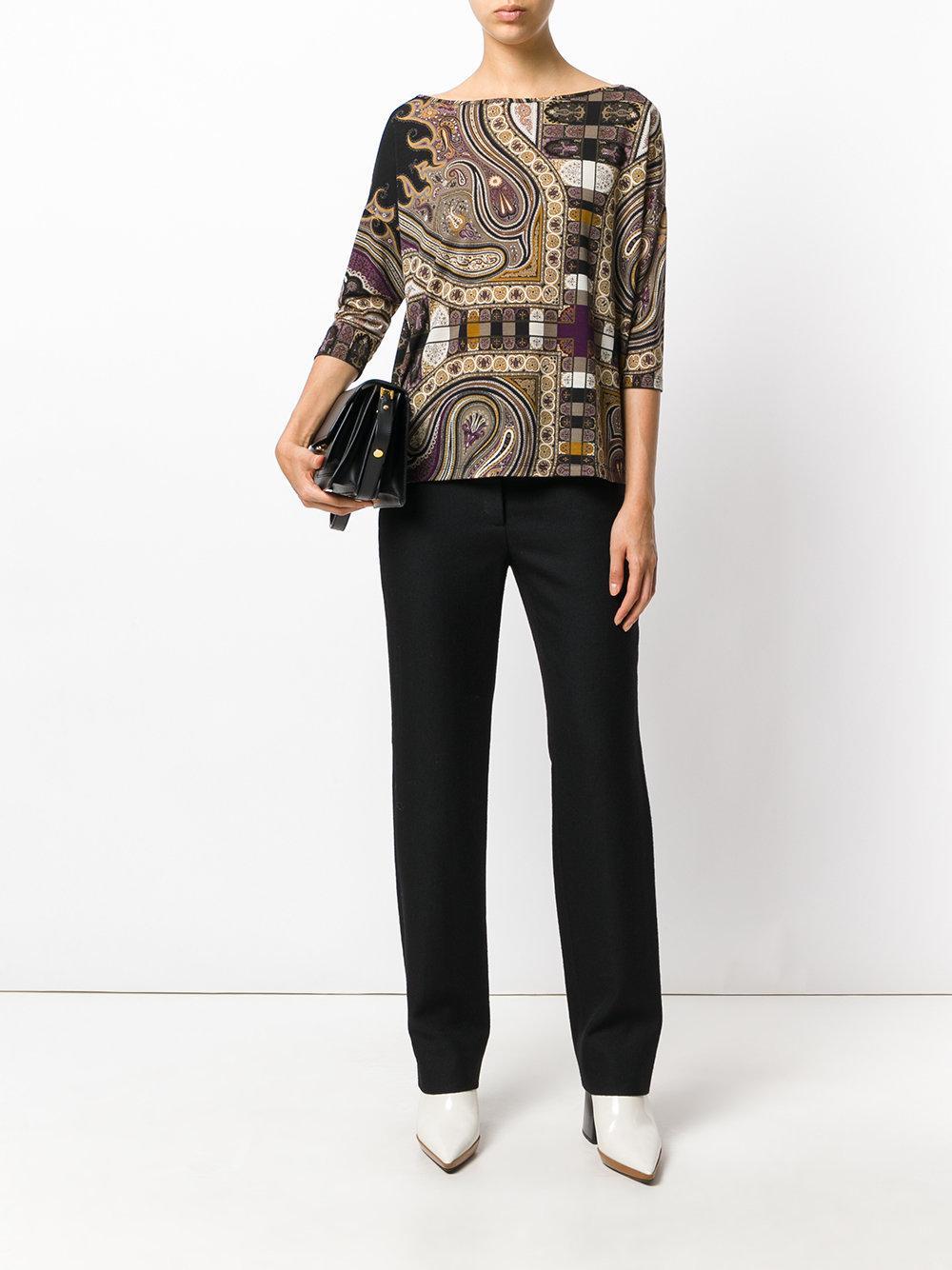 Etro Wool Paisley-print 3/4 Sleeve Blouse in Brown