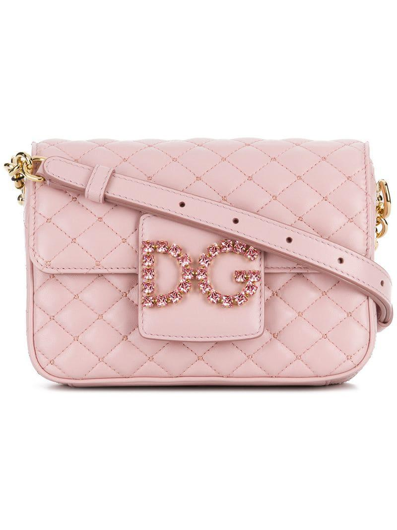 7f28556abc37 Dolce   Gabbana Foldover Logo Crossbody Bag in Pink - Save 38% - Lyst