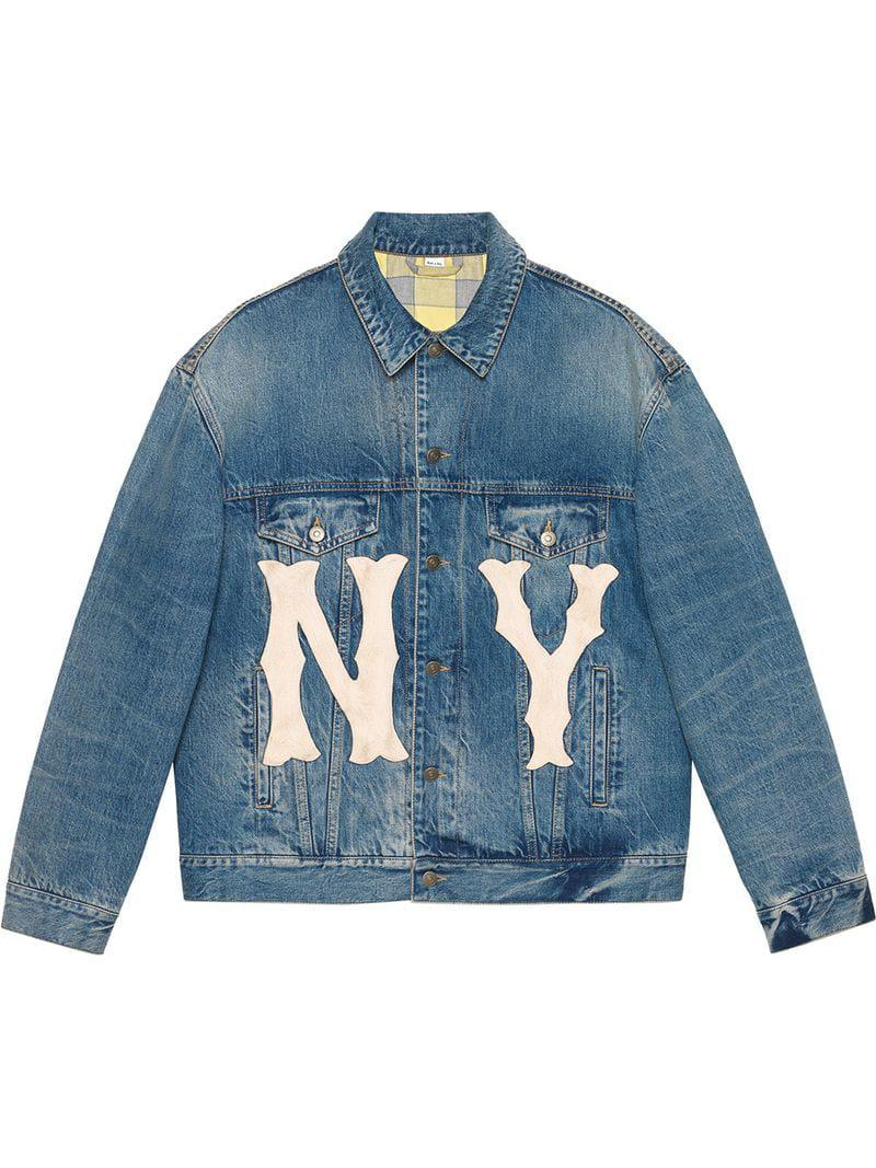 8d95967e96e Lyst - Gucci Denim Jacket With Ny Yankeestm Patch in Blue for Men