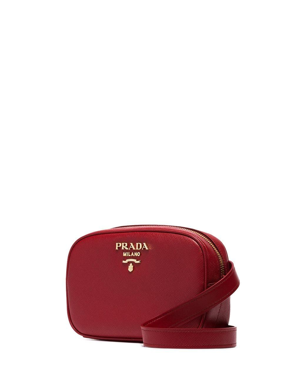 0db1a8e06287 Prada - Red Chain-detail Leather Belt Bag - Lyst. View fullscreen
