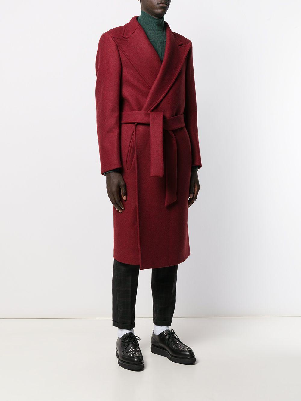 Manteau à taille nouée Laines Christian Pellizzari pour homme en coloris Rouge 6Se31