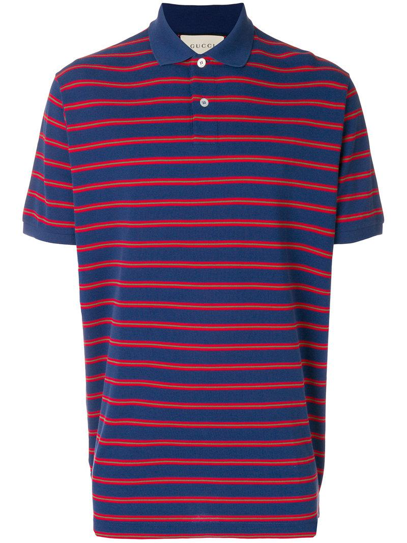 efbe0e504bd Gucci Stonewashed Stripe Polo Shirt in Blue for Men - Save ...