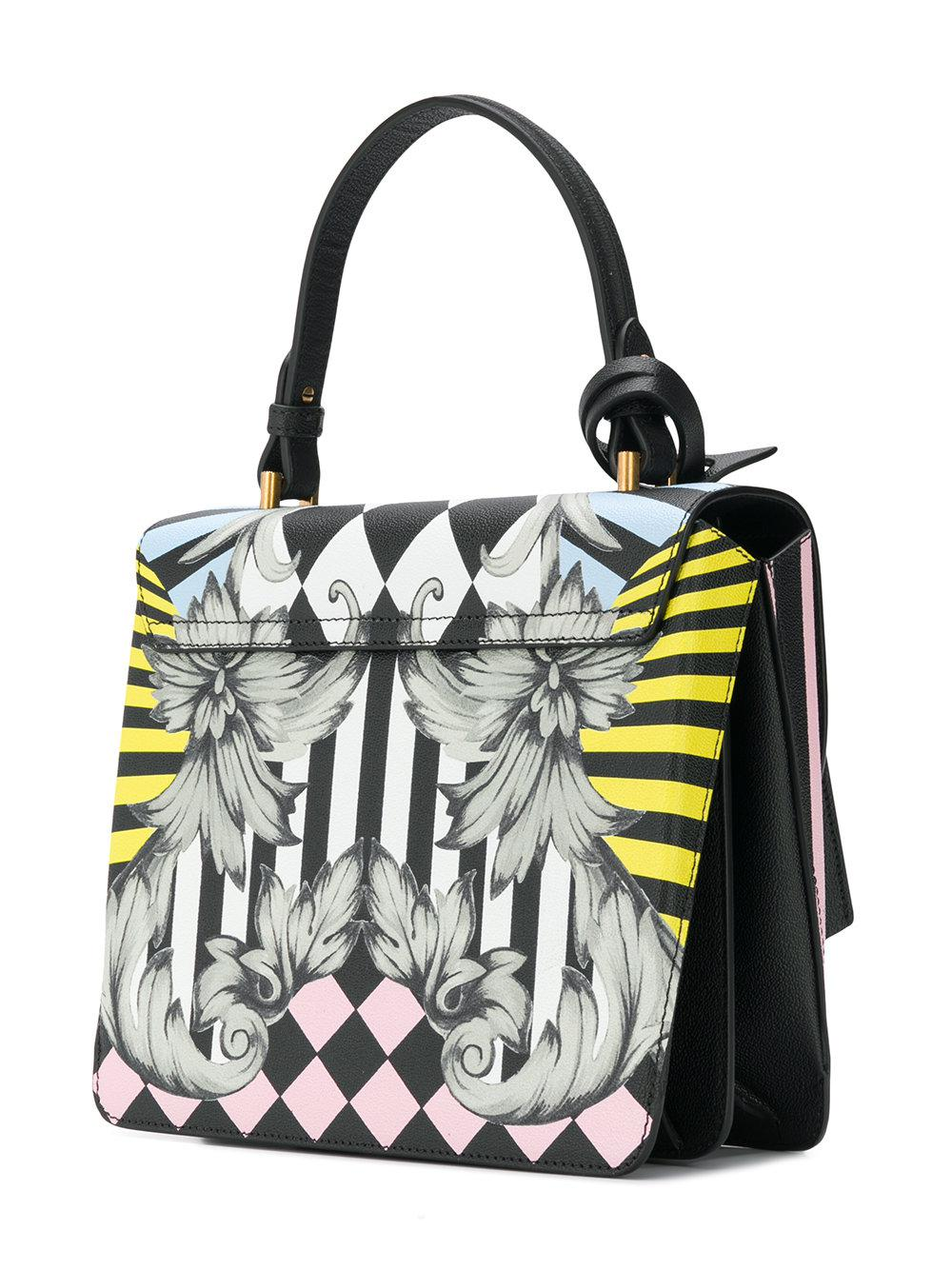 Versace Leather Printed Tote in Black