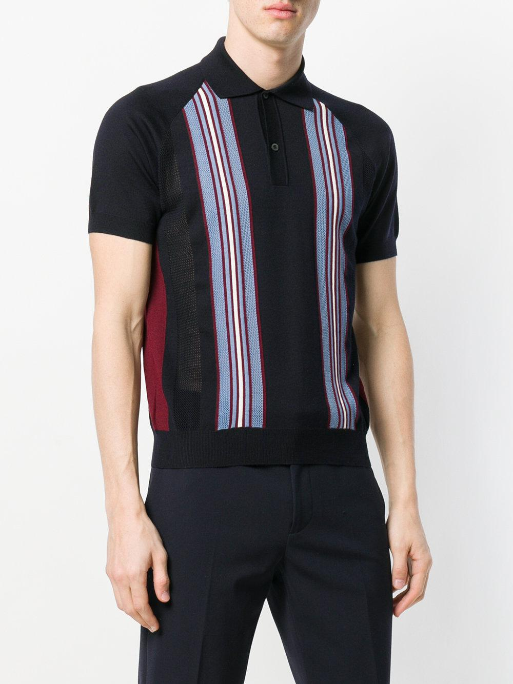 Prada Wool Striped Knitted Polo Shirt in Blue for Men