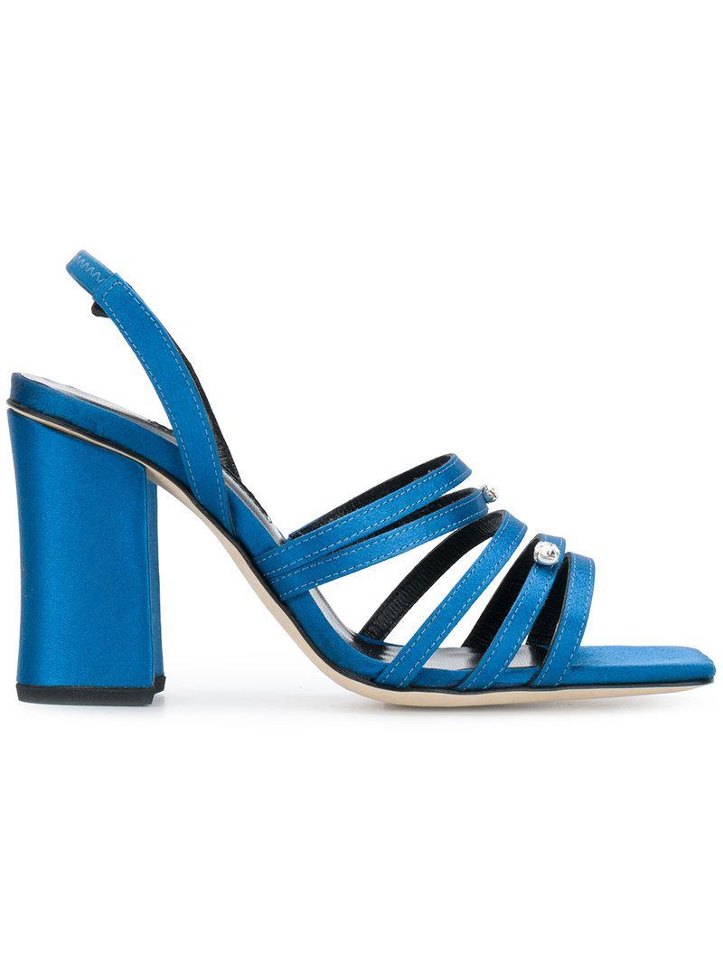 b5860410c7e366 Lyst - Dorateymur Strappy Block-heel Sandals in Blue