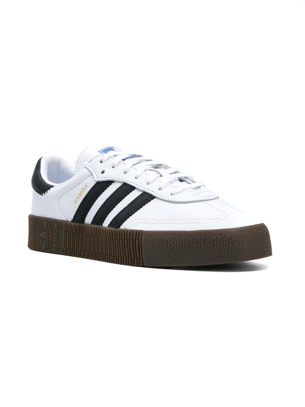 adidas Leather Originals Sambarose Sneakers in White