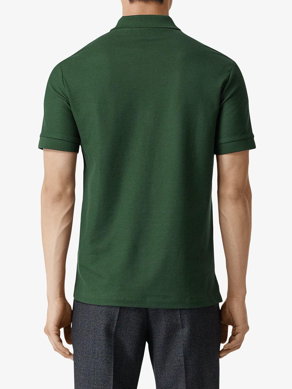 Burberry Katoen Poloshirt Met Monogram in het Groen voor heren
