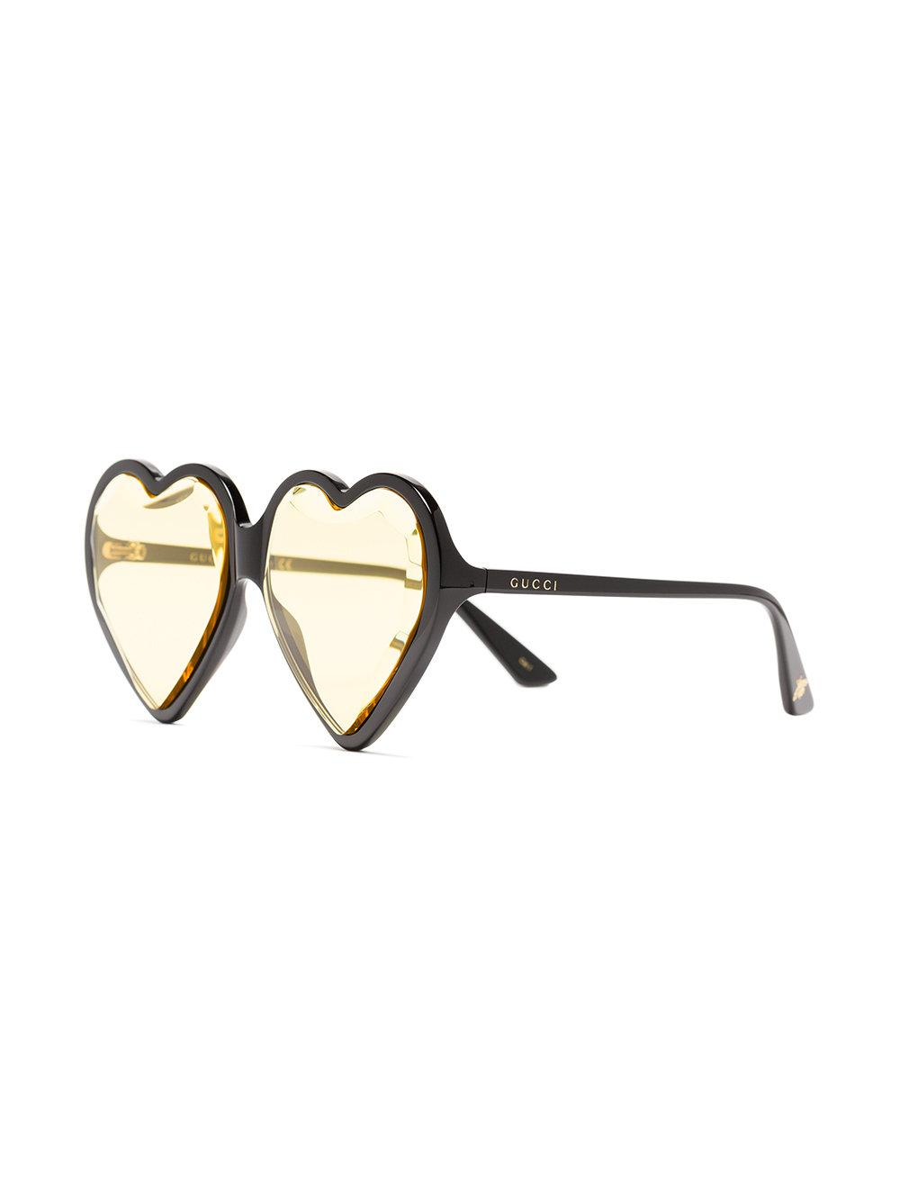 1f158d3923b Gucci Yellow Heart-shaped Sunglasses in Black - Lyst
