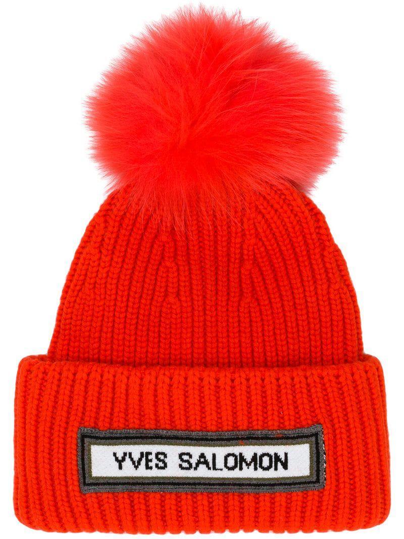 5edf5cd68b0 Yves Salomon Ribbed Pom Pom Beanie in Red - Lyst