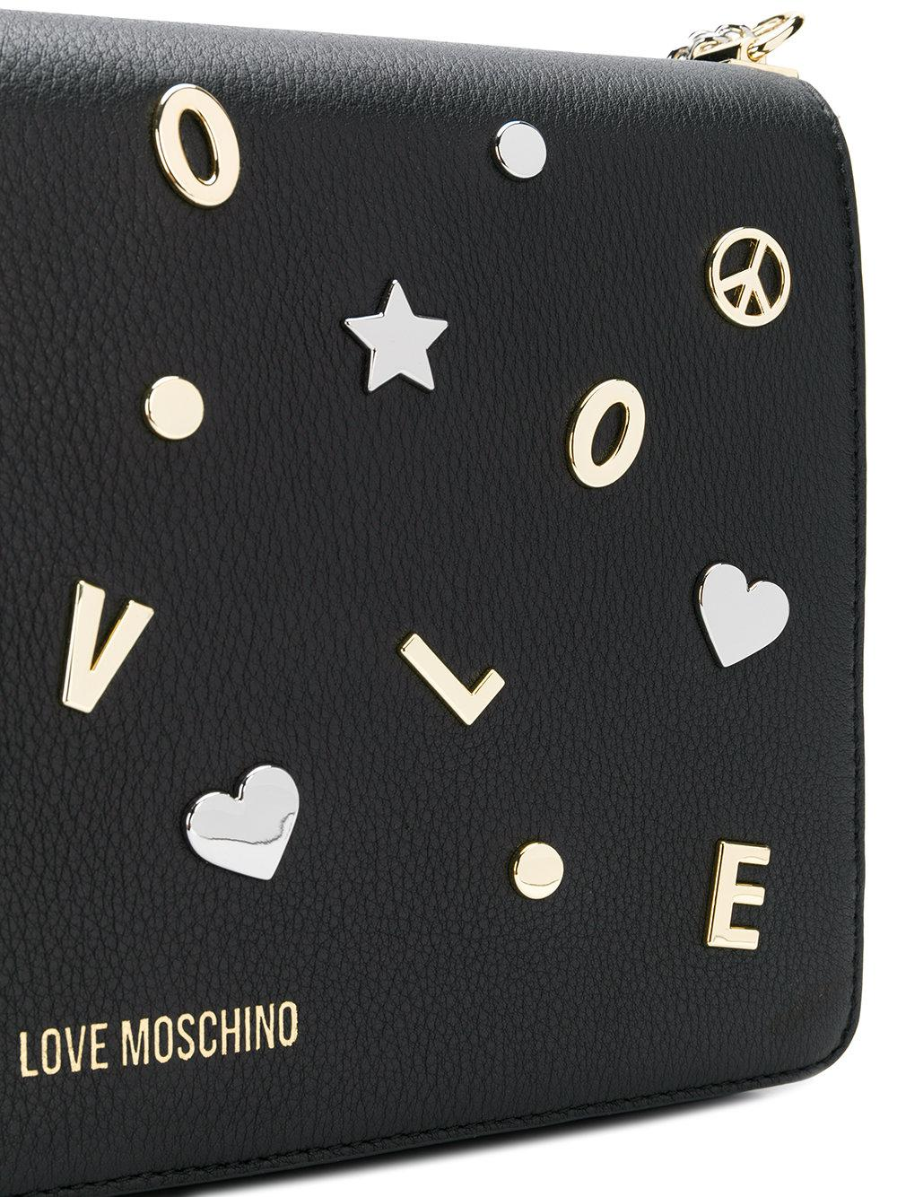Love Moschino Leather Embellished Crossbody Bag in Black