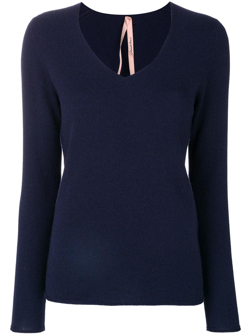 Marc Cain Cashmere V Neck Sweater In Blue Lyst