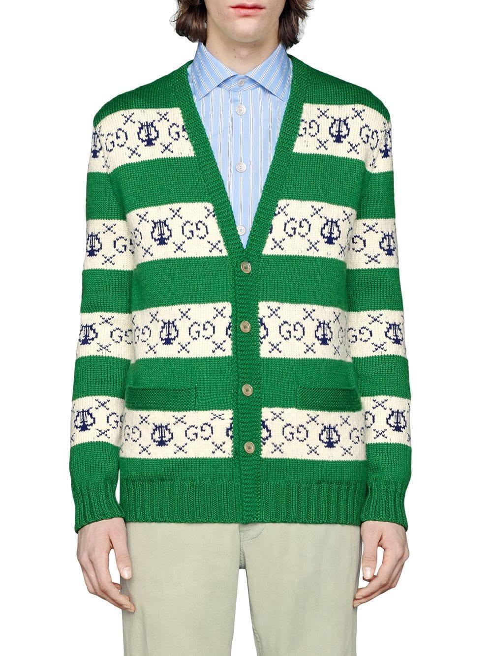 fd1f3b4396 Gucci GG Lyre Striped Jacquard Cardigan in Green for Men - Lyst