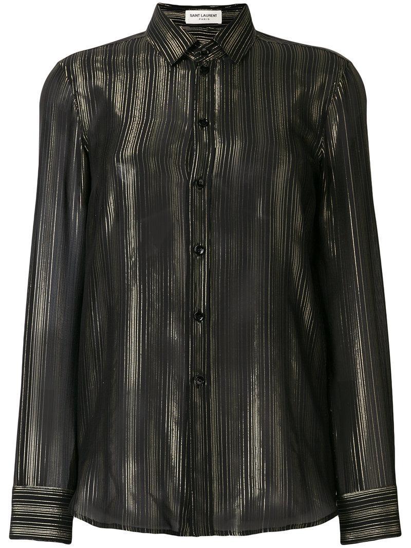 858f6791e66863 Saint Laurent - Black Buttoned Shirt - Lyst. View fullscreen