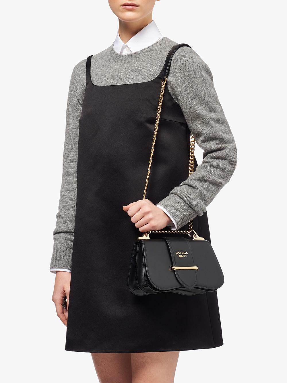 1a418452fc23 Lyst - Prada Sidonie Leather Shoulder Bag in Black
