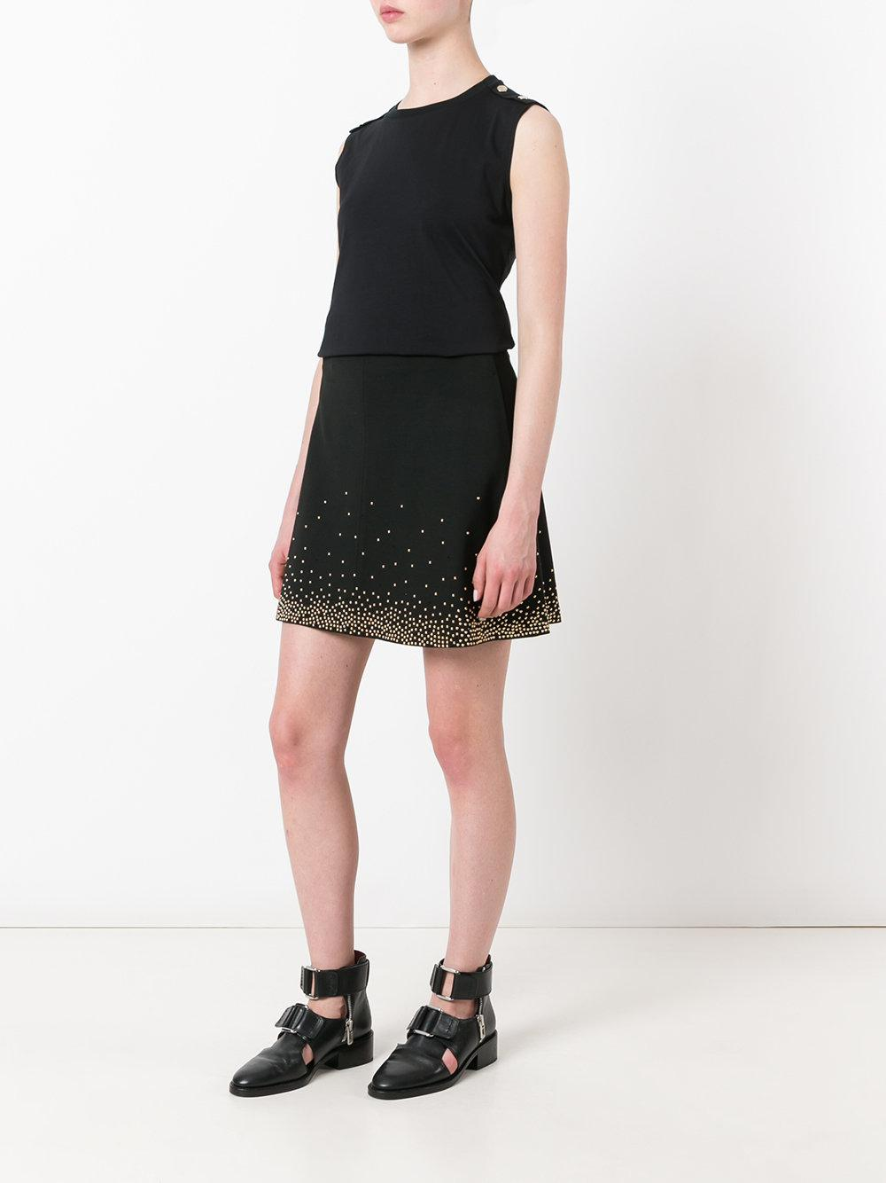 Versace Jeans Couture Denim Beaded Skirt in Black