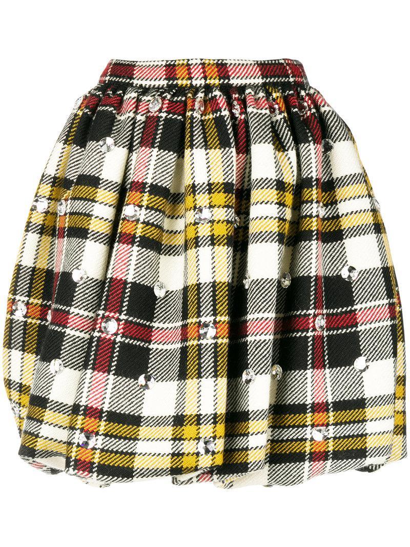 63c0162ad4 Lyst - Miu Miu Checked Print Skirt in White
