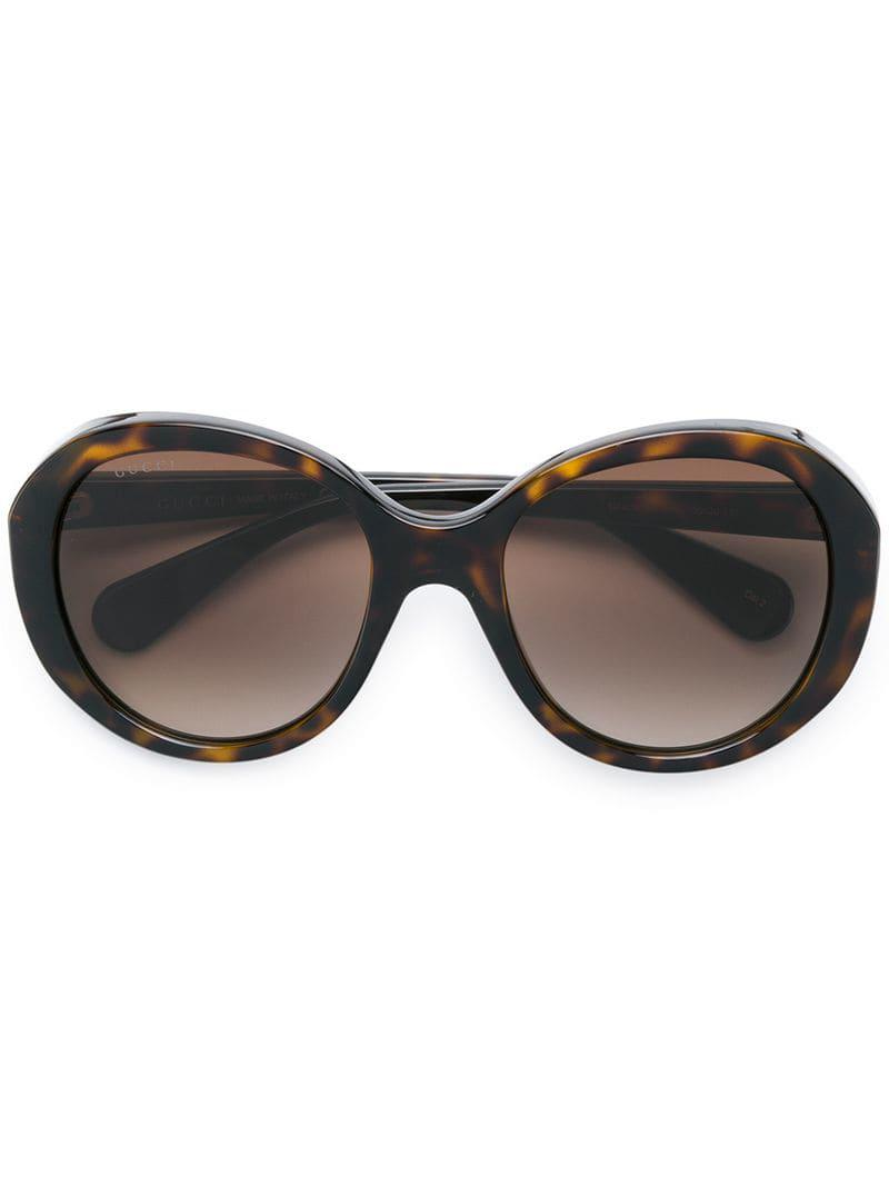 8c44f0cc489 Gucci Round Tinted Sunglasses in Brown - Lyst