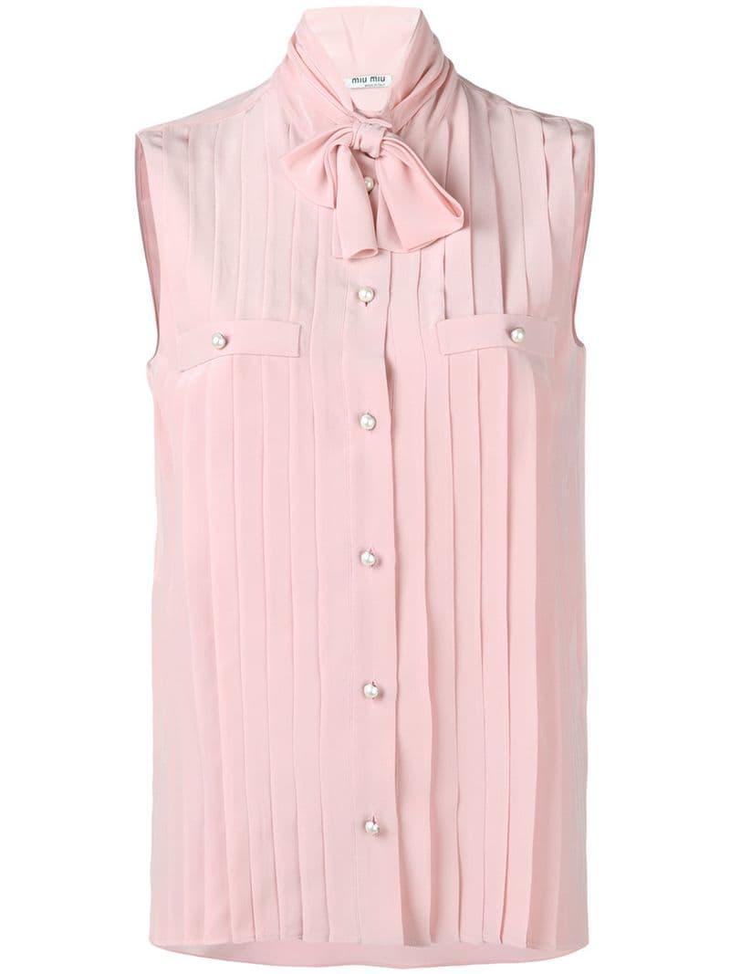 1fd206306b18 Lyst - Miu Miu Pleated Sleeveless Shirt in Pink