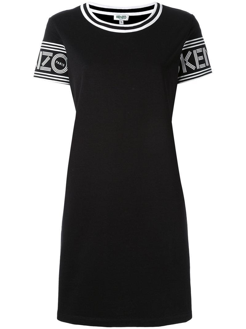 Lyst kenzo logo printed t shirt dress in black for Logo t shirt dress
