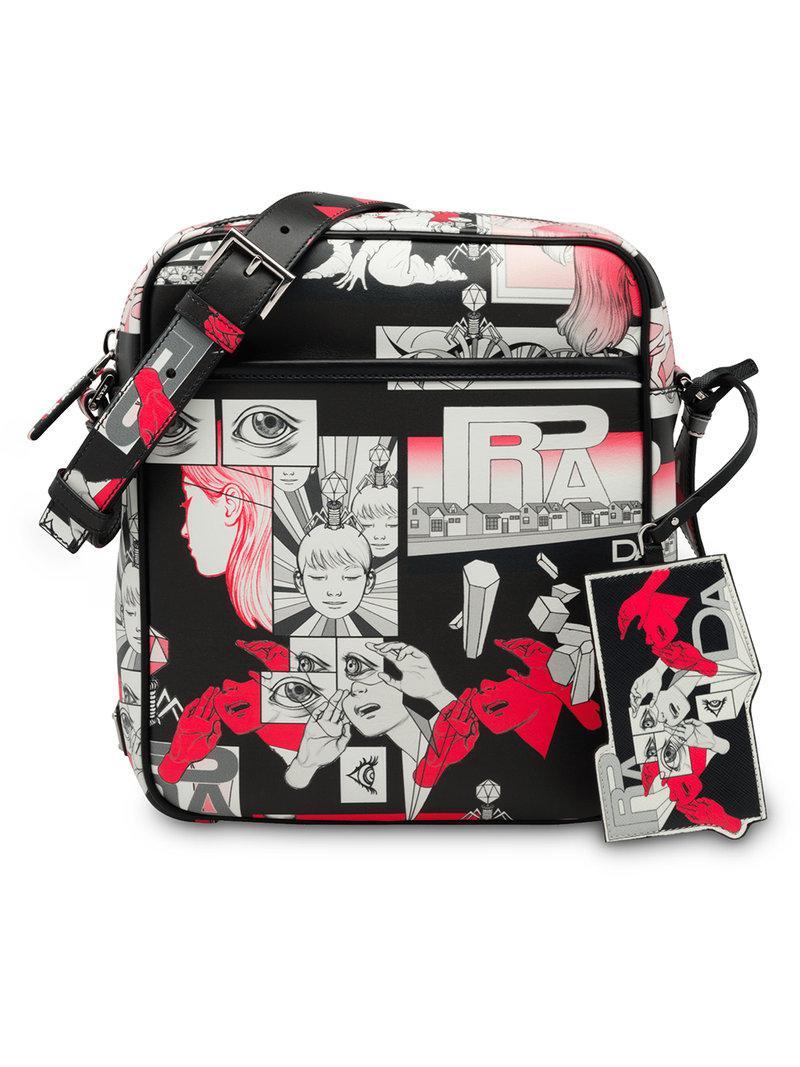 Prada Cartoon Printed Shoulder Bag in Black for Men - Lyst 32a209ef82eb9