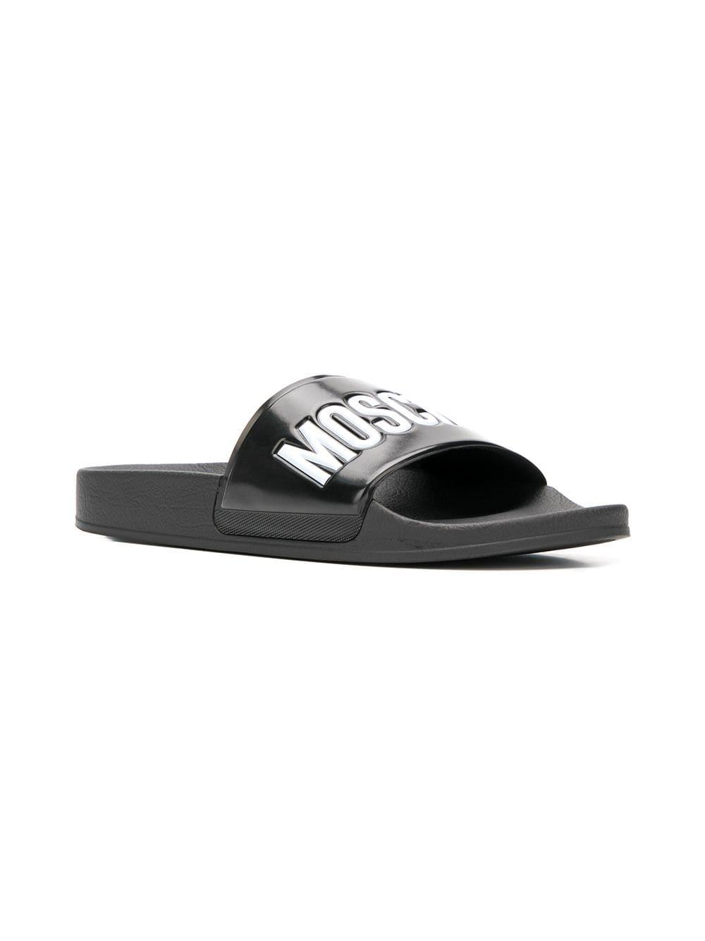 232e16168e07e Lyst - Moschino Black Slides With Logo in Black for Men - Save 50%