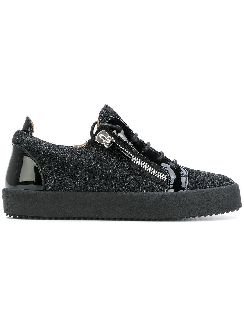 Giuseppe Zanotti Black fabric and leather sneaker with glitter GAIL GLITTER Outlet 2018 New 4SqN8emRs