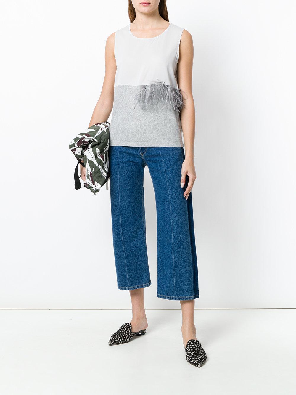 Fabiana Filippi Silk Feathered Detail Tank Top in Grey (Grey)