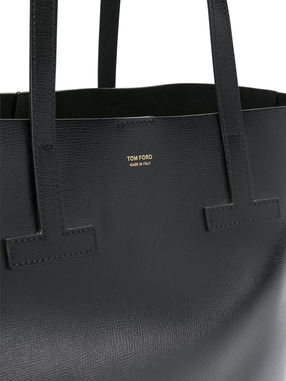 Tom Ford Leather Shopper Tote Bag in Black