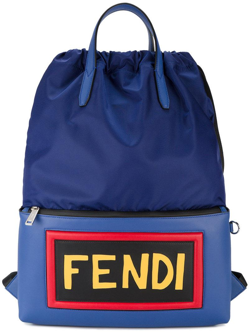 Fendi Logo Leather Backpack in Blue for Men - Save 31% - Lyst 945894fe9fcc0