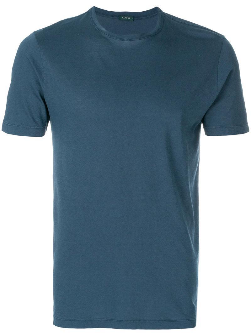 Zanone Crew Neck T-shirt in Blue for Men