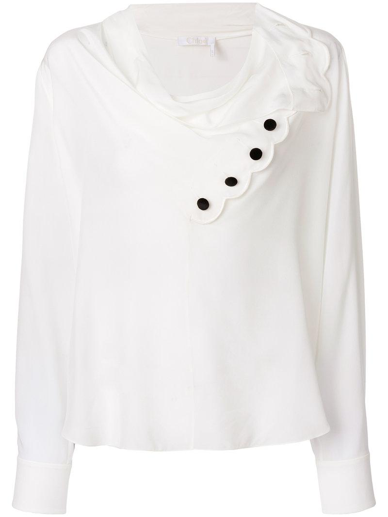 ea19c6bc486cf Lyst - Chloé Scalloped Cowl Neck Blouse in White - Save 55%