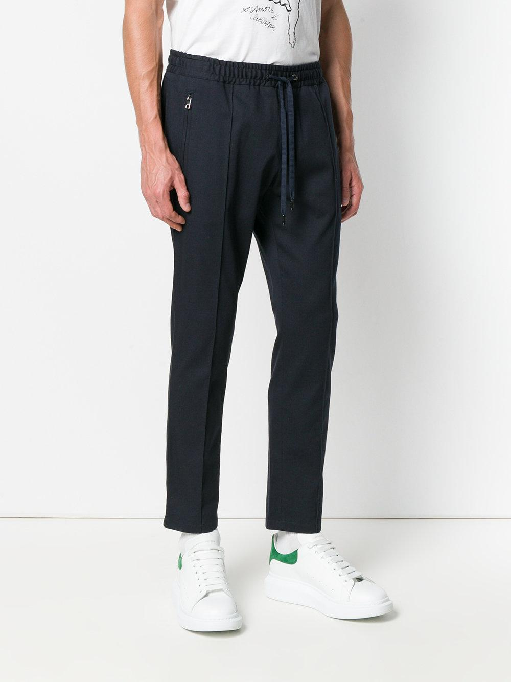 Dolce & Gabbana Cotton Fitted Track Trousers in Blue for Men