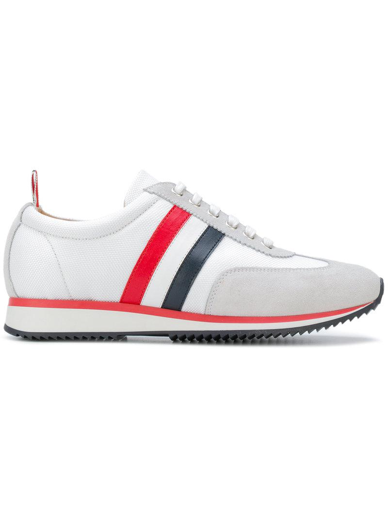 cheap sale 100% guaranteed Thom Browne Off-White Suede Tricolor Stripe Sneakers best prices online how much online best place for sale qoUhOc