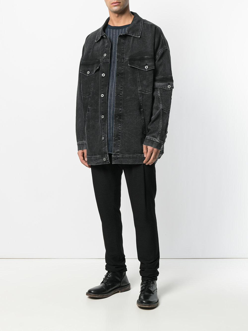 Barbara I Gongini Long-line Denim Jacket in Black for Men