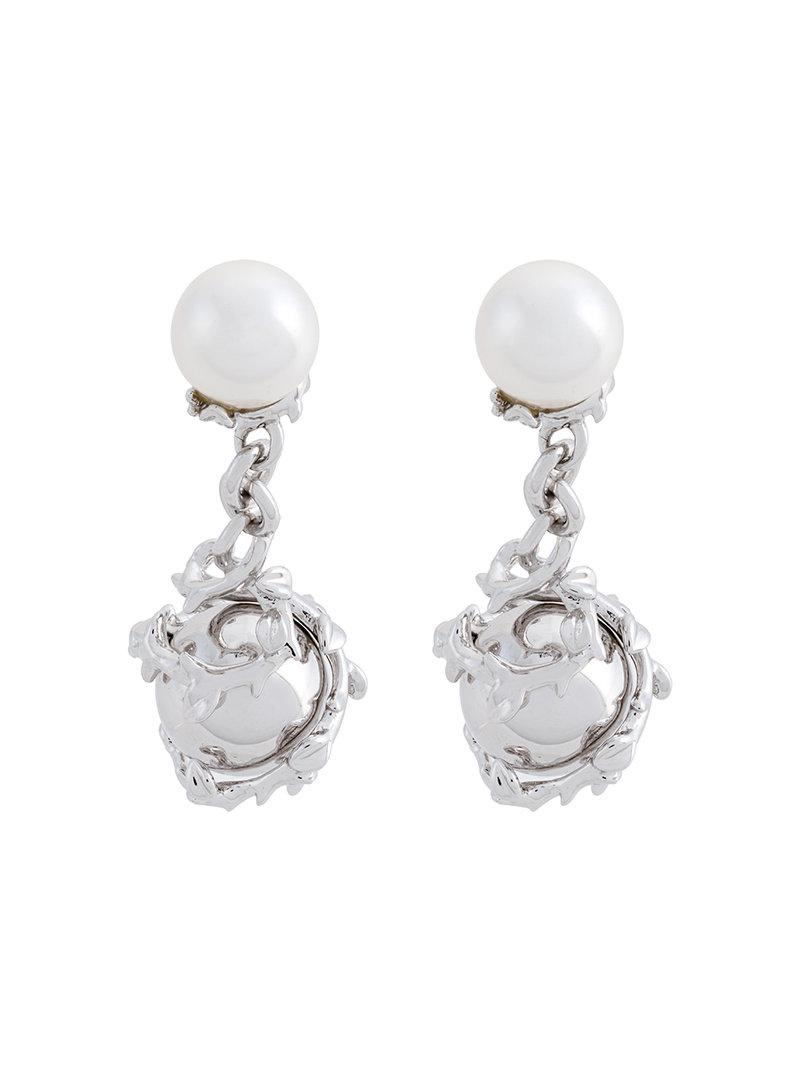 Kasun London orb & pearl cufllinks - Metallic w14k8