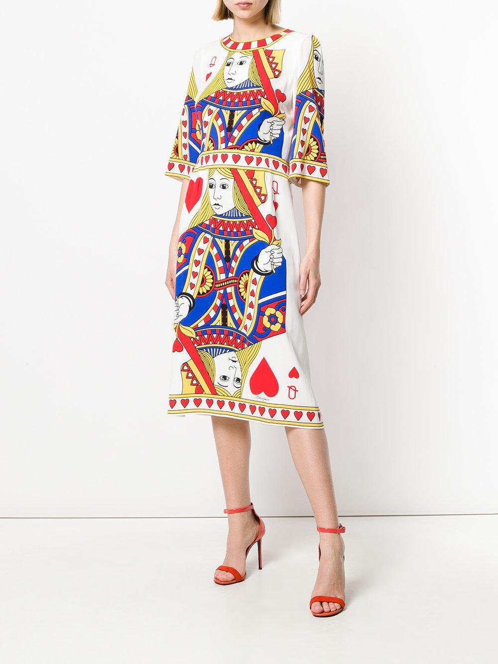 300cfa2c6bf Dolce   Gabbana - Multicolor Queen Of Hearts Dress - Lyst. View fullscreen