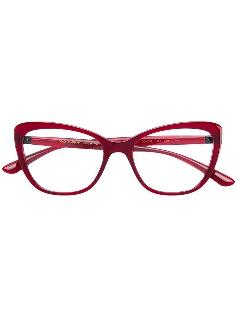 07d4ede604e Lyst - Dolce   Gabbana Cat-eye Metal Embellished Glasses in Red