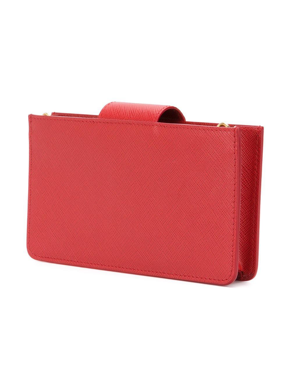 Prada Leather Saffiano Cross-body Bag in Red
