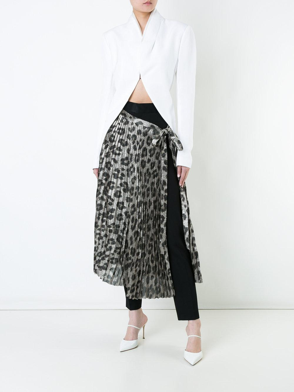 Haider Ackermann Silk Leopard Print Pleated Skirt in Metallic