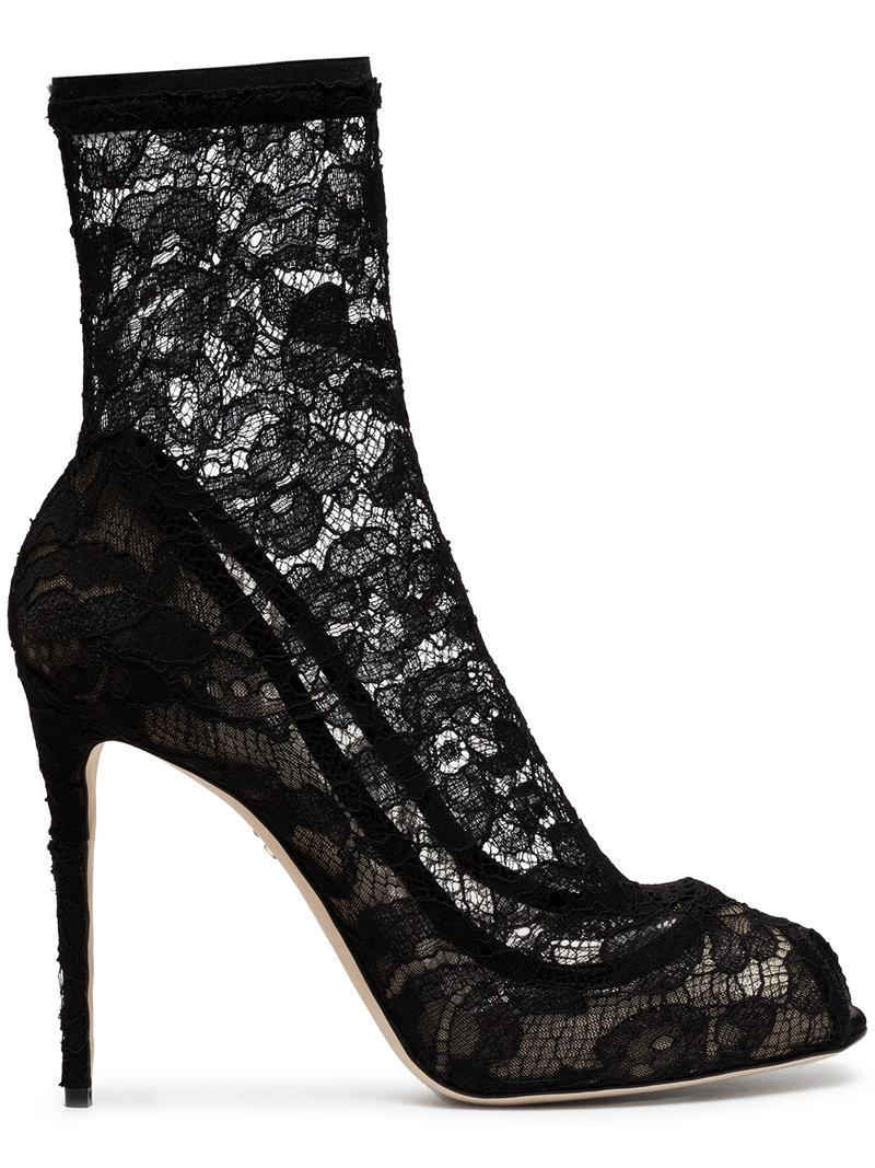 ffe32421fe8 Dolce   Gabbana Stretch Lace Sock Boots in Black - Save 40% - Lyst