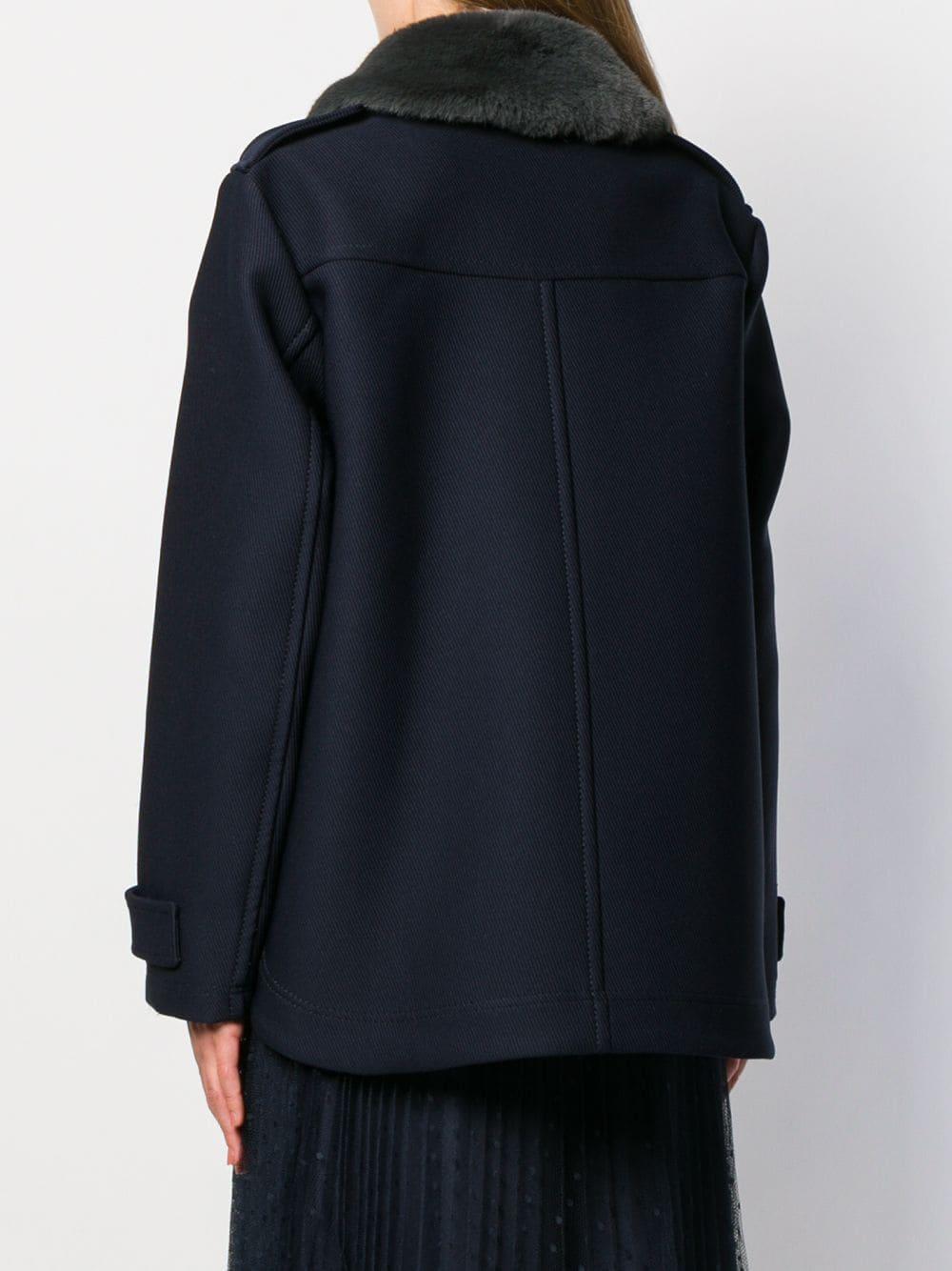 Abrigo con cuello de pelo artificial N°21 de color Azul