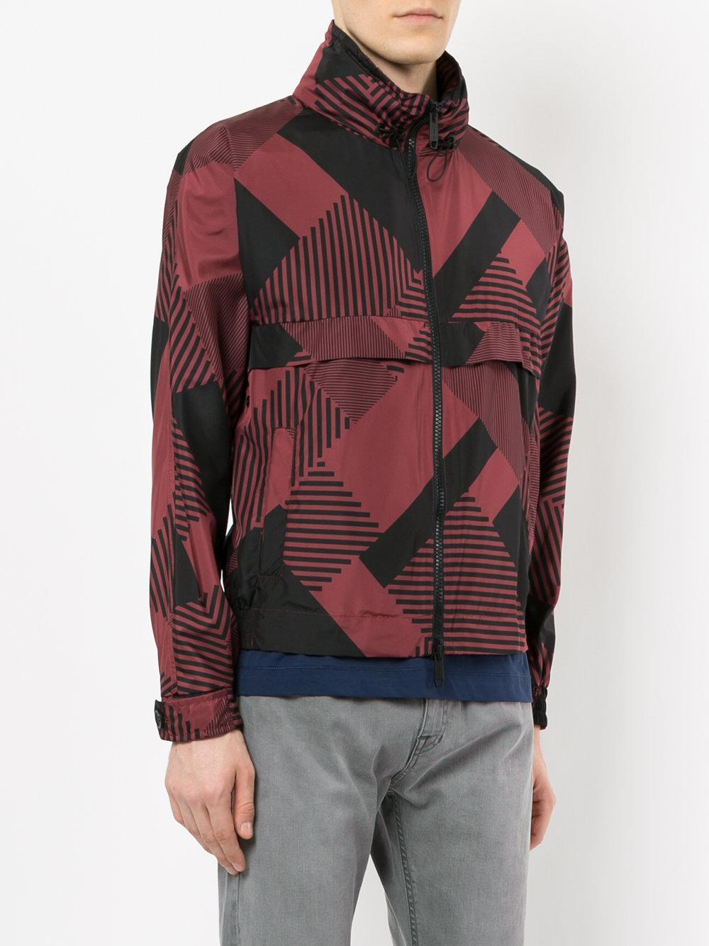 Cerruti 1881 Synthetic Printed Windbreaker Jacket in Red for Men