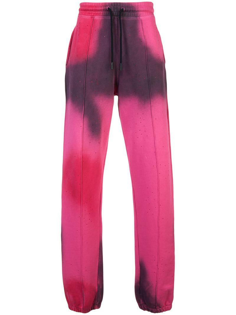 Off White C O Virgil Abloh Men S Pink Spray Paint Track Trousers