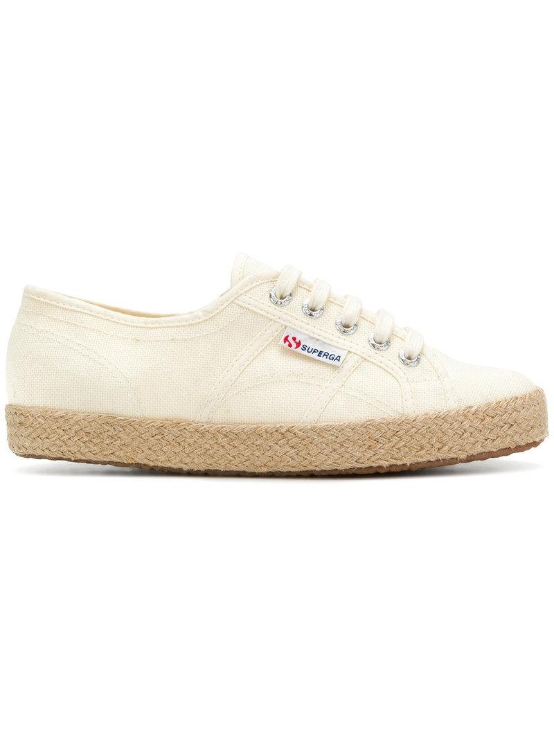 8a34f72b94a Lyst - Superga Woven Sole Sneakers in White