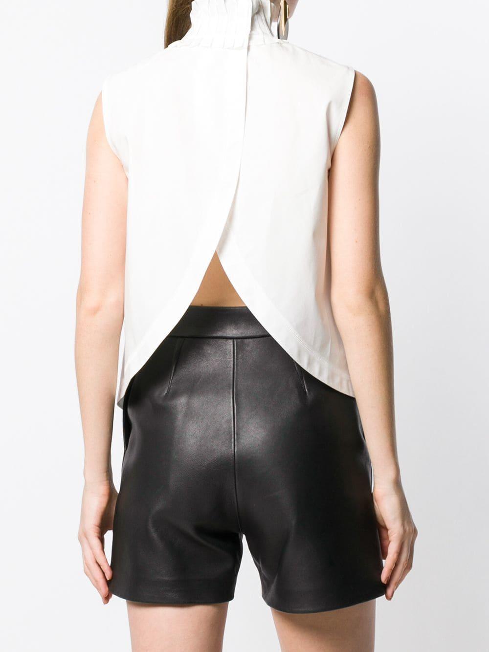 Blouse sans manches à col froncé Coton Fendi en coloris Blanc