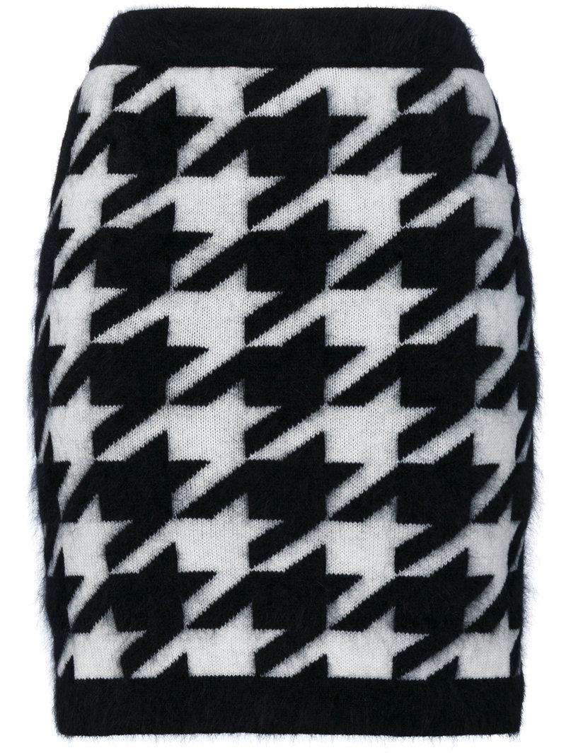 Balmain Knitted Houndstooth Skirt in Black - Lyst
